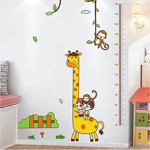 GCHHJYA Pegatinas de pared de Mono de jirafa de dibujos animados para habitación de niños Decoración de dormitorio de bebé Calcomanías de pared de medición de altura de bricolaje 97 * 180 cm (Puerta Para Bebe)