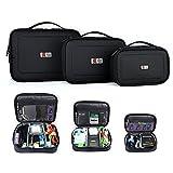 BUBM 3pcs/lot étanche Universal Electronics Accessoires Organiseur de voyage étui de transport lentille de l'appareil photo chargeur de câble Organiseur Triple Lot (Large, Medium, Small) -black