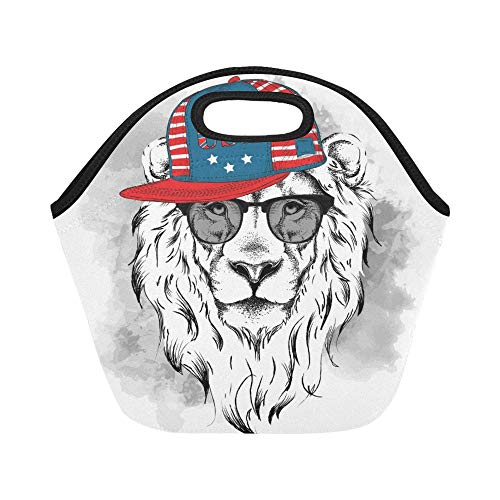 Isolierte Neopren-Lunch-Tasche Lion Glasses Headphones Hiphop Hat Große wiederverwendbare thermische dicke Lunch-Tragetaschen Für Lunch-Boxen Für draußen, Arbeit, Büro, Schule