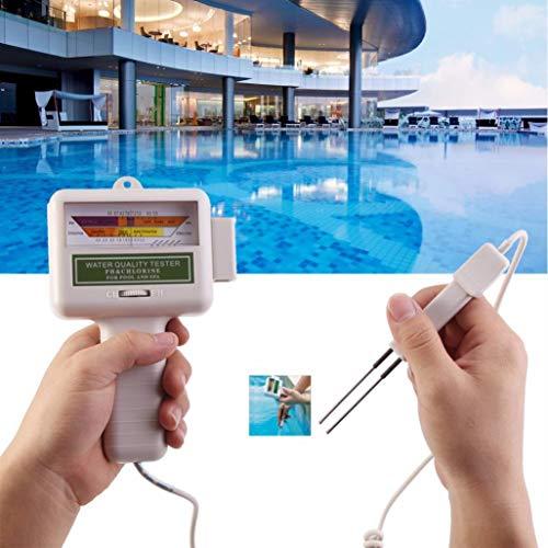 SO-buts PH-Wert-Tester CL2 Chlorgehalt Wasserqualität Tester Schwimmbad Wasserqualität Tester Test Überwachung Schwimmbad Spa (Silber)