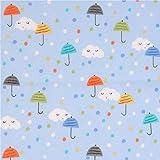 Hellblauer süßer Regenschirm Wolken Punkte Michael Miller