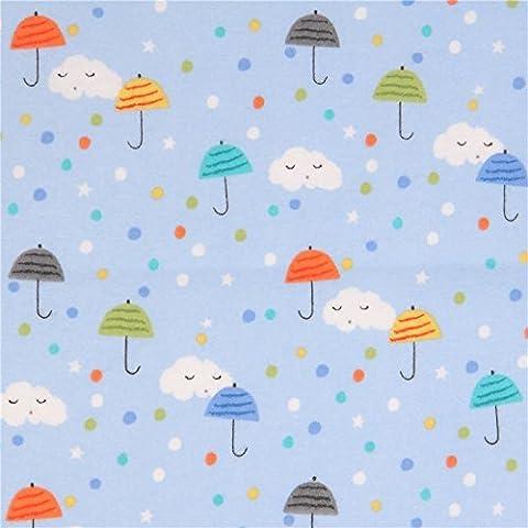 Tissu en flanelle Michael Miller bleu clair avec des parapluies, nuages, pois