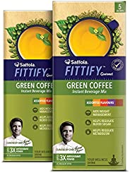 Saffola Fittify Gourmet Green Coffee Instant Beverage Mix, Assorted Pack, 2 X 10 g (10 servings)