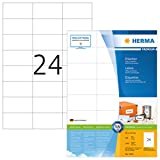 Herma 4464 Universal Etiketten (70 x 37 mm) weiß, 2.400 Aufkleber, 100 Blatt DIN A4 Premium Papier matt, bedruckbar, selbstklebend