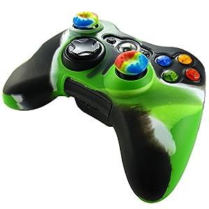 Pandaren® Silikon hülle skin für Xbox 360 controller (Licht grün + schwarz) x 1 + thumb grip aufsätze x 2