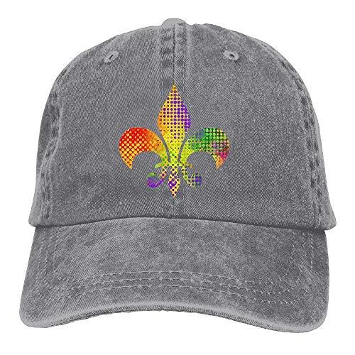 Gorgeous ornaments Fleur De Lis Mardi Gras Adult Sport Adjustable Baseball Cap Cowboy Hat Fleur Rim