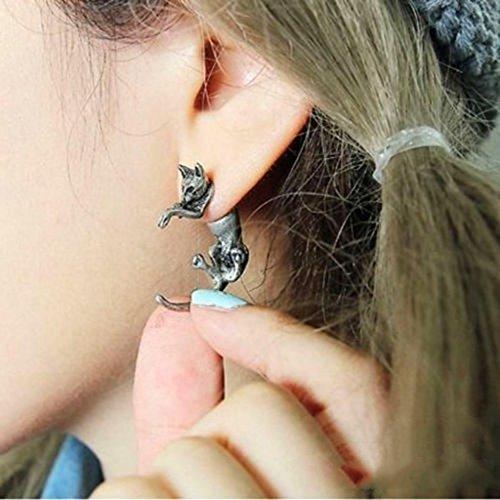 huayang-unisex-punk-style-long-tail-retro-fox-shape-ear-stud-earrings1pcs-silver