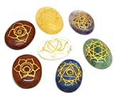 Healing Crystals India 7 Piece Engraved Chakras Stones Palm Stone Crystal Reiki Healing with One Pouch