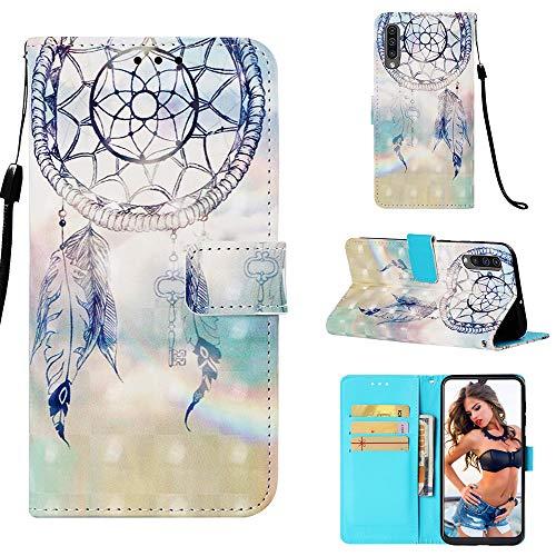 WIWJ Kompatibel mit Samsung Galaxy A50 Hülle,Handyhülle Samsung Galaxy A50,Flip Case Cover Premium Tasche[3D-Malerei Halterung Ledertasche] Handytasche Brieftasche Hülle-Fantasy Windspiele