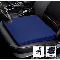 Cuscino da sedia, da ufficio, da automobile, misure 35 cm x 35 cm x 6/1 cm, cotone, Blau, 35 cm x 35 cm
