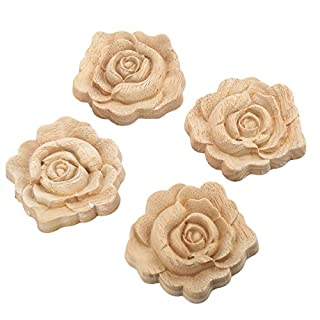 MUXSAM 4pcs 7 * 7cm Wood Carved Corner Onlay Applique Door Cabinet Rose Unpainted Sculptures for Home British Farmhouse Style