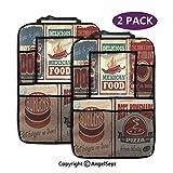 Organizzatore sedile posteriore auto, Targhe in metallo nostalgico Stampe retro cibo messicano Invecchiato Advirtising Logo Artistico Multi, Tasche portaoggetti Sedile posteriore (2 pezzi)
