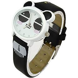 Black Funny Panda Face Kids Quartz Cartoon Wrist Watches Synthetic Leather Strap Fq-143