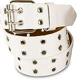 SCAMODA Doppelloch Nietengürtel mit echtem Leder für Damen und Herren, Breite ca. 3,5 cm (Weiß)
