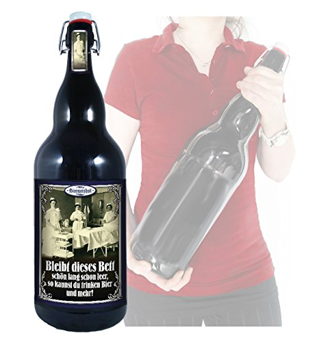 Leeres Bett - 3 Liter XXL-Flasche Bier mit Bügelverschluss - Leere Bier Flaschen
