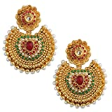 Maroon Green kundan like earrings with p...