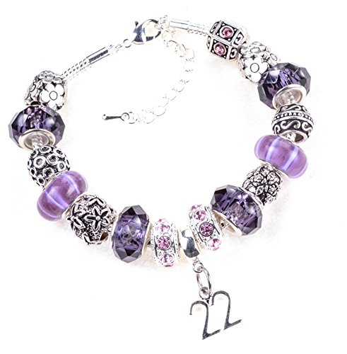 22th-birthday-purple-and-lilac-themed-murano-charm-bracelet