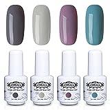 Perfect Summer Gel Nail Polish - 4PCS Multi Colours Semi-permanent Nail Varnish Soak Off UV LED Manicure Starter Kits 8ML #43