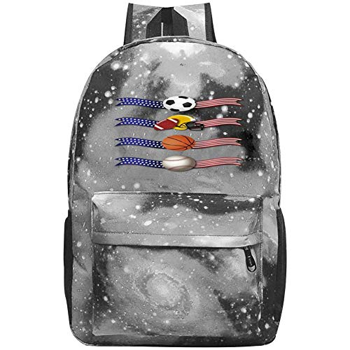 dsgsd Schultasche Banner Sports Casual Large-Capacity Star Backpack Unisex Travel Bag Gray -