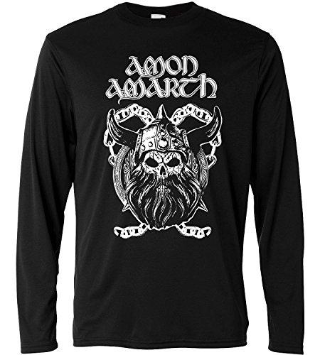 T-shirt a manica lunga Uomo - Amon Amarth - Viking Skull - Long Sleeve 100% cotone LaMAGLIERIA, L, Nero