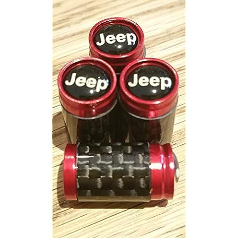 Jeep Negro Top Rojo y fibra de carbono válvula de rueda Dust Caps exclusivos desde US RENEGADO CHEROKEE WRANGLER