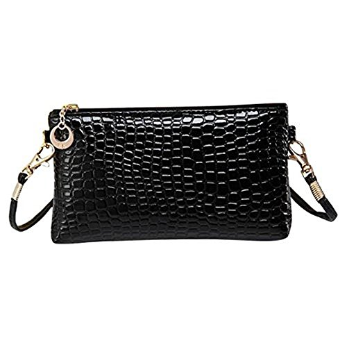 DAY.LIN Krokodil-Muster Handtasche Damen Crocodile Leder Messenger Crossbody Clutch Schultertasche (A)