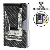 Kreditkartenetui Herren Portemonnaie RFID & NFC Schutz Edles Design Carbon Slim Wallet für 9 Kreditkarten Mini Geldbörse Portemonnaie Leicht Dünn Kartenhüllen Nur 19g (2 Jahre Garantie)
