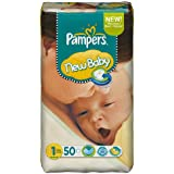 Ancienne version - Pampers New Baby Couches Taille 1 - 2-5 kg Format Géant lot de 2 x 50 Couches (100 couches)