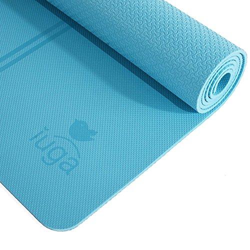 Iuga - Esterilla antideslizante para yoga, extra gruesa de 7mm y con rayas en el medio para la alineación. Tiene una correa de transporte de calidad y está hecha de material 100 % de TPE. Excelente cojín, antideslizante y ligero, tamaño 183x 65cm, azul claro