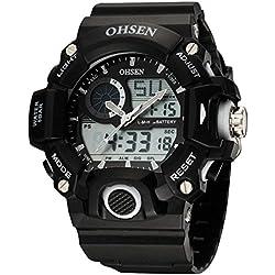 OHSEN Men's Women's Sport Wristwatch Outdoors Waterproof Watch Analog Digital Display Backlight with Alarm Stopwatch - White