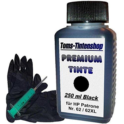 Nachfüllset Premium Tinte 62 Set mit 250 ml Nachfülltinte für HP Patrone Nr.62 schwarz Eine Nachfüllspritze mit Nadel und 1 Paar Latexhandschuhe -