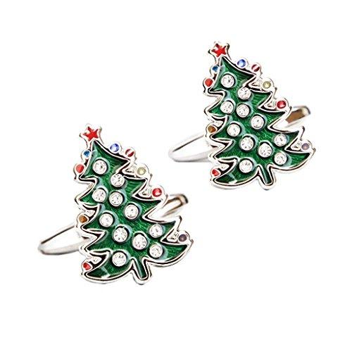 ELECTROPRIME® 3 Pairs Men Crystal Green Christmas Tree Shirt Cuff Links Wedding Cufflinks