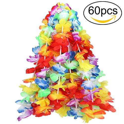 Ghirlanda hawaiana, ivencase 60 pezzo bracciale accessorio per natale party festa carnevale festival per la cerimonia nuziale di compleanno decorazione del partito - christmas