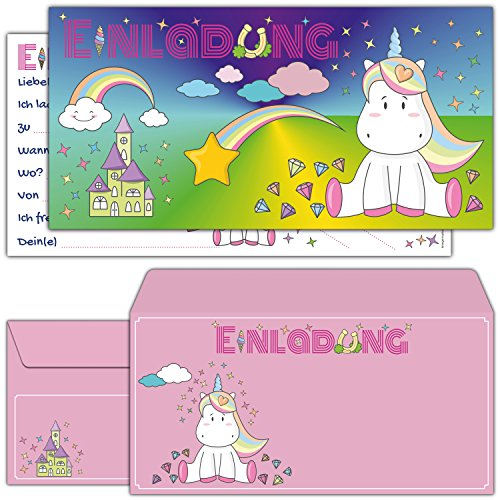 12-er Kartenset Einhorn Einladungskarten inklusive Umschläge - süße Karte mit niedlichem Unicorn und rosa Briefumschlag für Mädchen Kindergeburtstag, Mädels Party, Geburtstag Feier, Einhörner Event