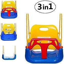 Emwel Columpio Infantil con Respaldo Alto, Bebés 3 en 1 Bebé Niño Asiento de plástico para Columpios con Barra en T y Accesorio, Jardín al Aire Libre Desmontable Cubeta Colgante Asiento Colgante