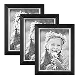 3er Bilderrahmen-Set 13x18 cm Schwarz Modern mit Silberkante Massivholz-Rahmen mit Glasscheibe und Zubehör / Fotorahmen