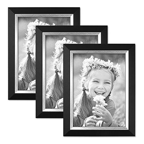 Locker Bilderrahmen (3er Bilderrahmen-Set 13x18 cm Schwarz Modern mit Silberkante Massivholz-Rahmen mit Glasscheibe und Zubehör / Fotorahmen)