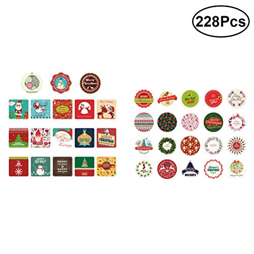 TENDYCOCO Christmas Sealing Stickers Favors Gift Treats Bags Candy Cookie Biscuit Boxes Jars Envelopes Scrapbooking Diary Stickers 228 Pack