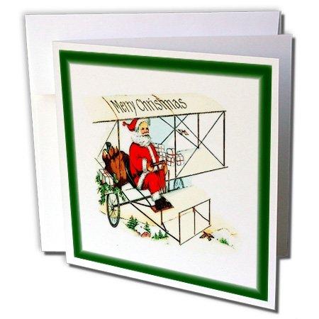 Print von Santa Flying Antik Flugzeug–Grußkarten, 15,2x 15,2cm, Set 12(GC 220972_ 2)