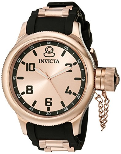 Invicta Men s 1439 Russian Diver Rose Dial Black Rubber Watch image