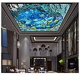 Pbldb Unterwasserwelt Marine 3D Wallpaper Benutzerdefinierte 3D Deckentapete Tapeten Unterwasserwelt Traum Fresken An Der Decke Wandbild 3D Wohnzimmer Wohnkultur-400X280Cm