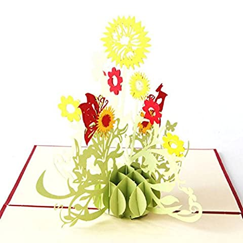 UncleS Sunflower 3D Pop Up Greeting Cards, 5.91 x 5.91 inches, Gift for Birthday Wedding Invitation Anniversary Merry Christmas Teacher's Day Thanksgiving Congratulation (Red