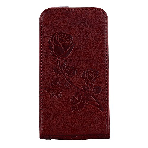 "MOONCASE iPhone 4/iPhone 4s Coque, [Embossed Pattern] Card Holster Flip Housse Durable PU Cuir Anti-choc Supports Protection Etui Cases pour iPhone 4/iPhone 4s 3.5"" Violet Marron"