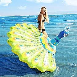 Peacock fila flotante azul juguetes inflables de agua gigante, animales boya juguetes de agua Juguetes inflables para niños, regalos-193 * 163 * 94cm