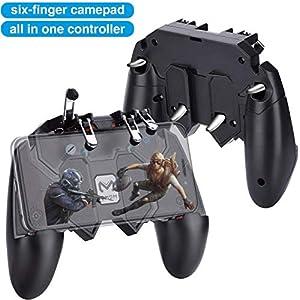 HEYSTOP PUBG Mobile Game Controller Sechs Finger All-in-One,Handyspiel-Auslöser Sensitive Schieß- und Zieltasten,Geeignet für 4,7-6,5 Zoll Android & iOS Verschiedene Spiel (4 Triggers)
