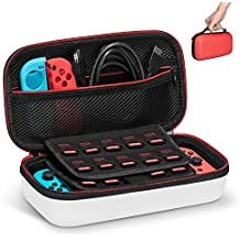 Keten Carry Case for Nintendo Switch, Protective Portable Travel Pouch Shell with 19 Games Cartridge Holders for Switch Console, Joy-Con and Other Accessories (Red and White)