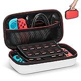 Keten Etui pour Nintendo Switch Housse de Transport Rigide Version Améliorée avec Espace de Stockage Plus Large pour 19 Jeux, Adaptateur Secteur Officiel et Autres Accessoires(Rouge et Blanc)