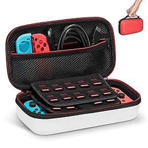 Keten Tasche für Nintendo Switch, Tragetasche für die Nintendo Switch Konsole, Spiele, Joy-Con und anderes Nintendo Switch Zubehör zu 19 Spielen(Rot und Weiß)