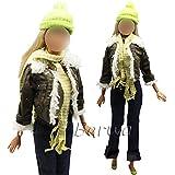 Miunana Vêtement Pour Barbie + 1 Paires Chaussures Pour Barbie + Cache Nez(Avec Bonnet)