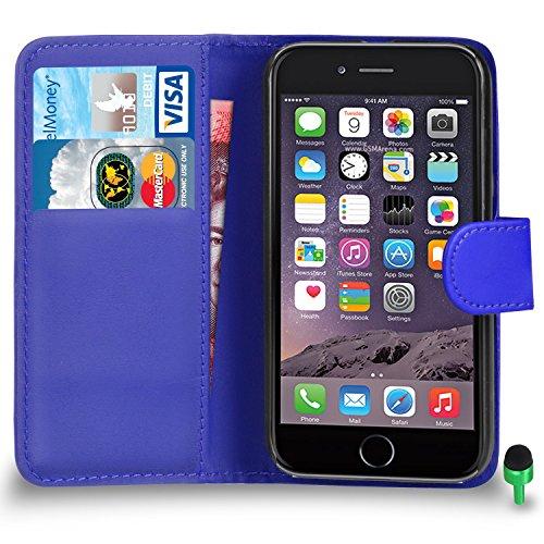 """POUR Apple iPhone 6 / 6S (4.7"""" INCH) - SHUKAN® Prime Cuir VIOLET Portefeuille Cas Coque Couverture VERT Cap BLEU"""